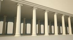 White Greek ancient columns justice finance philosophy legal support pillar Stock Footage