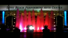 Long Beach Performing Arts Center With Fountain At Night 1 Stock Footage