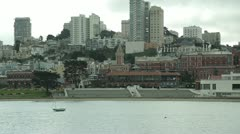 San Francisco downtown from harbor pan across 24p Stock Footage