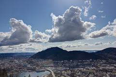bergen with a big sky over - stock photo