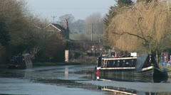 English canal in winter Stock Footage