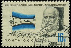 russia - circa 1963: a stamp printed in ussr, show portrait founder of aerody - stock photo