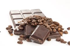chocobar with coffee beans - stock photo