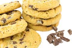 chocolate cookies closeup - stock photo