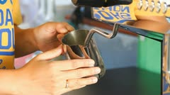 Steaming milk at coffee shop Stock Footage