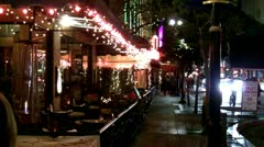 Sidewalk Cafe Restaurants In Downtown Long Beach CA- Night Stock Footage