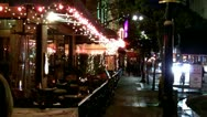 Stock Video Footage of Sidewalk Cafe Restaurants In Downtown Long Beach CA- Night