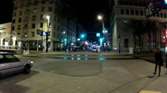 Traffic On Street In Downtown Long Beach- Night Stock Footage