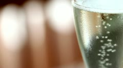 Champagne is fizzing. - stock footage