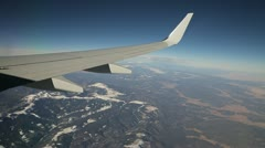 Airplane jet flying window view 24p - stock footage