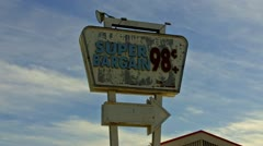 Generic Super Bargain Discount Store Sign With Paint Peeling - stock footage