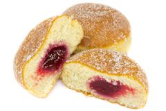 jelly donuts with jelly - stock photo