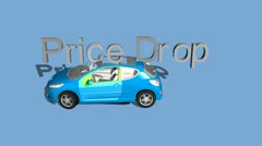 "Animated 3D Words, ""Price Drop"", Fall on Car Stock Footage"