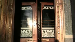 Art Deco Office Building Revolving Doors Closeup Stock Footage