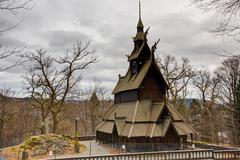 stave church - stock photo