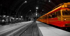 train in railway station - stock photo