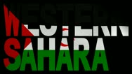 Western Sahara text with fluttering flag animation Stock Footage