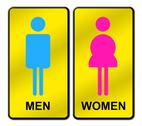 Colored man & woman restroom sign Stock Illustration
