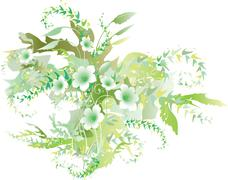 Delicate Floral Verdure - stock illustration