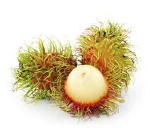 Rambutan on hedelmä makea punainen kuori Kuvituskuvat