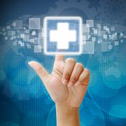 Hand press on first aid icon Stock Illustration