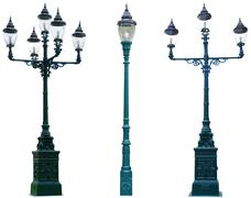 Isolated antique lamp post lamppost street road light pole Stock Photos