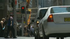 Busy  pedestrians crossing road, Sydney Stock Footage