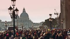 Crowd in plaza San Marco - stock footage