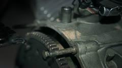Engine flywheel of the motorcycle Stock Footage