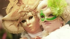 Couple of woman during the carnival of Venice Stock Footage