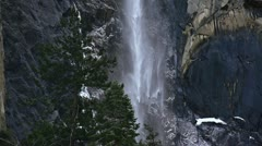 Intimate Winter Waterfall at Yosemite on Shady Cliff - Slow Motion Stock Footage