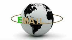 Email newsletters on a gold ring rotates around the earth Stock Footage