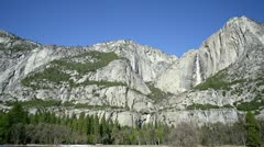 Yosemite Falls Wide Scenic on Clear Winter Day Stock Footage