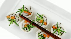 Japanese Cuisine - California Roll made of Fresh raw Salmon Cream Cheese Stock Footage
