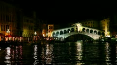Rialto Bridge (Ponte Di Rialto) in Venice, Italy at night time Stock Footage