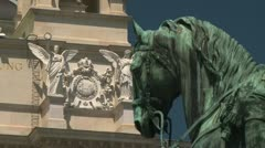Maria Theresa Sculpture and Museum Natural History Stock Footage
