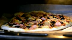 Pizza in oven Stock Footage