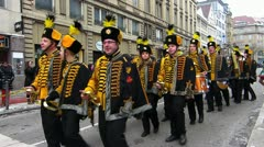Germany Stuttgart Carnival parade procession Stock Footage