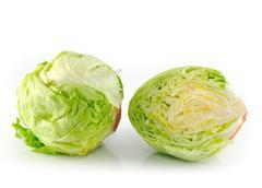 iceberg salad - head of lettuce - stock photo