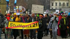 Germany Stuttgart protest demonstration against Stuttgart 21 project Stock Footage
