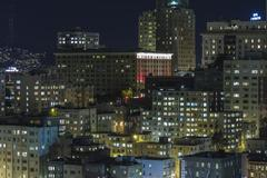 nob hill san francisco editorial night view - stock photo
