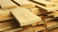 Clean freshly cut wooden planks. - stock footage