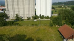 AERIAL: Large silo Stock Footage