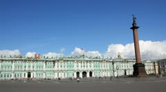 Hermitage and Palace Square in St. Petersburg - timelapse in motion 4k Stock Footage