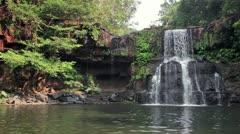 135 Klong Chao Waterfall on Koh Kood island Stock Footage