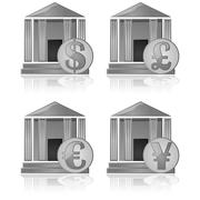 banks and money - stock illustration