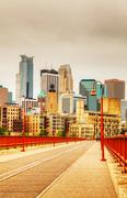downtown minneapolis, minnesota in the evening - stock photo