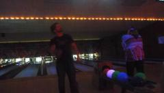 Glow in the Dark Bowling Strike Stock Footage