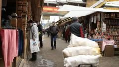People in Izmailovo souvenir market Stock Footage