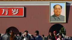 MaoZeDong portrait&Slogans on Beijing Tiananmen Square,Chinese tourist. Stock Footage